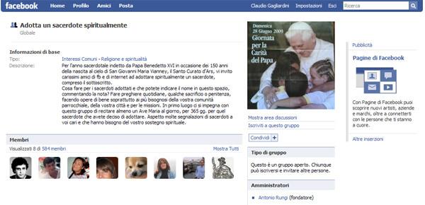 "Web 2.0 ""ora pro"" nobis: adotta un prete su Facebook!"