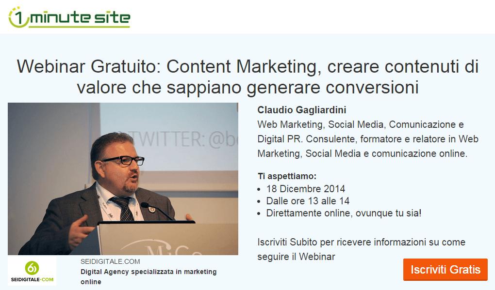 Webinar Gratuito sul Content Marketing